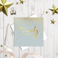 90th Happy Birthday gold foiling greetings card