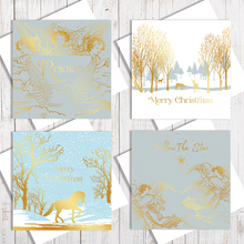 Mixed Gold Christmas Card Collection - Pack Of 4