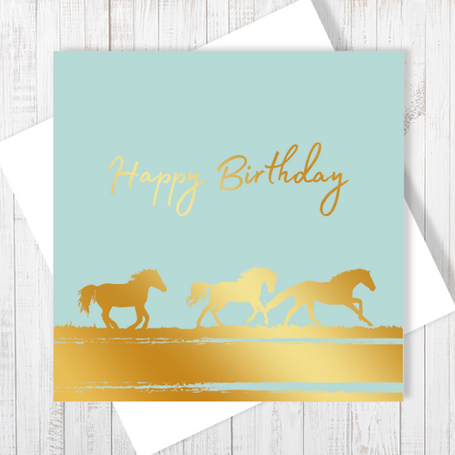 Happy Birthday Gold Running Horses Card