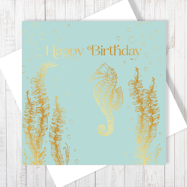 Happy Birthday Gold Seahorse with Gold Foil Greetings Card by Abigail Bryan