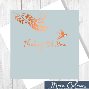 Thinking Of You Copper Foil Grey Greetings Card