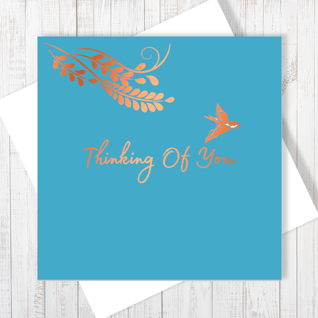 Thinking Of You with Copper Foil Blue Greetings Card by Abigail Bryan