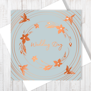 Wedding Day Bouquet Copper Foil Greetings Card by Abigail Bryan