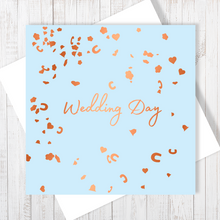 Wedding Day Confetti Copper Foil Greetings Card by Abigail Bryan