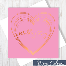 Pink Wedding Day Heart Copper Foil Greetings Card by Abigail Bryan
