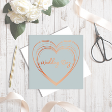 Grey Wedding Day Heart Copper Foil Greetings Card by Abigail Bryan