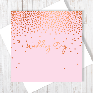 Wedding Day Stars Copper Foil Greetings Card by Abigail Bryan