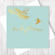 Pen-blwydd Hapus little bird greetings card