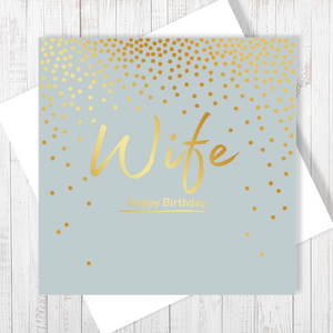 Happy Birthday Wife Gold Foiling Card