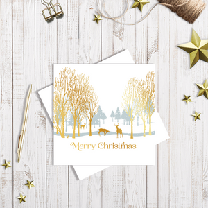 Winter Forest Gold Christmas card with gold foiling by Abigail Bryan