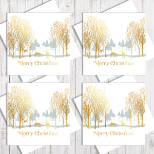 Pack Of 4 Winter Forest Gold Christmas card with gold foiling by Abigail Bryan