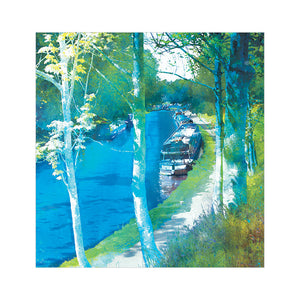 Along The Towpath - Greetings Card by Abigail Bryan