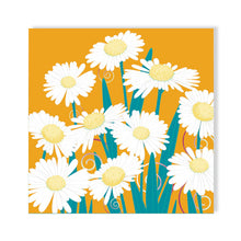 Daisy Dance, orange pop Greetings Card by Abigail Bryan