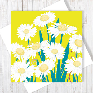 Daisy Dance, yellow pop Greetings Card by Abigail Bryan