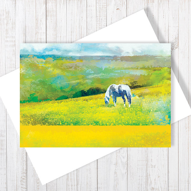Grazing In Golden Fields - Greetings Card by Abigail Bryan