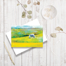 Grazing In Golden Fields greetings card by Abigail Bryan