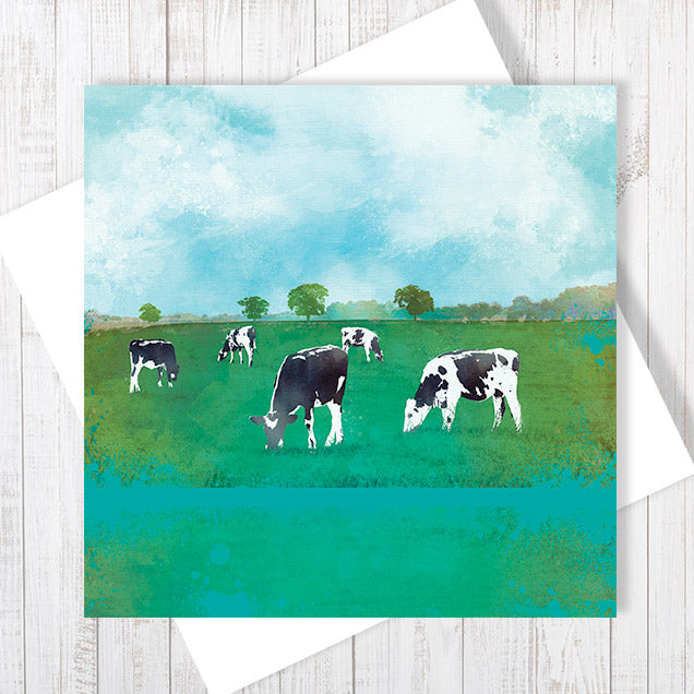 Green Pastures - Greetings Card by Abigail Bryan