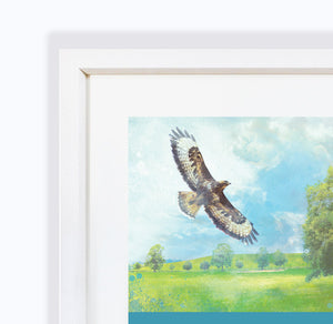Lifted, Overlooking Fields in Audlem, Cheshire, Framed Print by Abigail Bryan