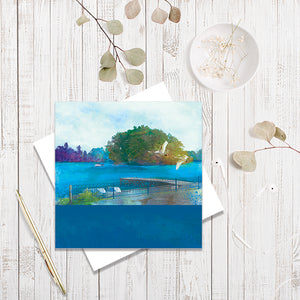 Moscow Island, Ellesmere greetings card by Abigail Bryan