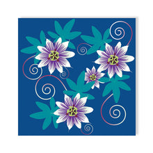 Passion Flower, blue pop Greetings Card by Abigail Bryan