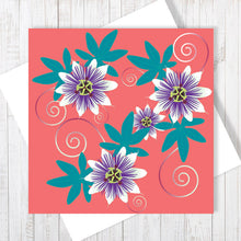 Passion Flower, coral pop Greetings Card by Abigail Bryan