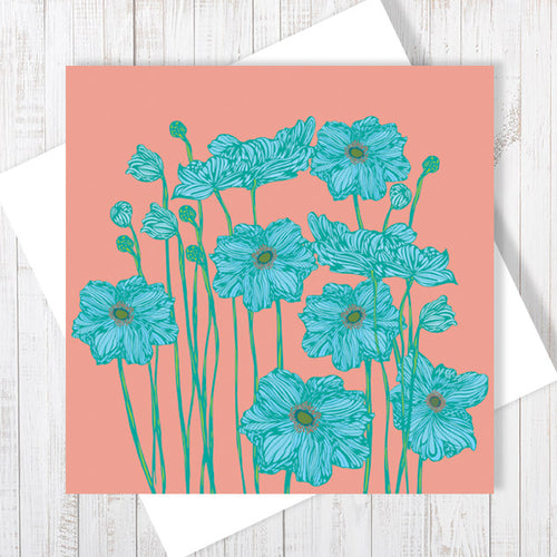 Peony Garden, coral pop Greetings Card by Abigail Bryan
