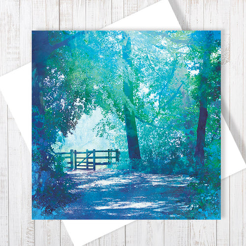 The Kissing Gate, Ellesmere - Greetings Card by Abigail Bryan