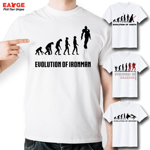 A series of Funny Evolution T-Shirts ( Batman, Darth Vader, Sherlock Holmes, Doctor Who, Iron man, Hulk)