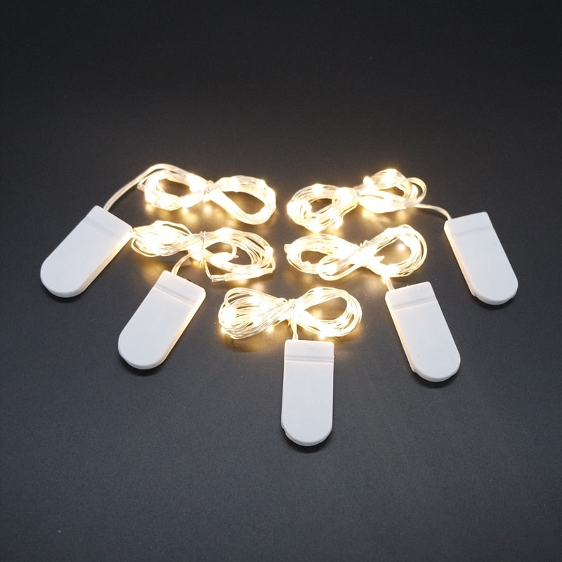 2M 20 LED Silver Wire Fairy Garland Lamp LED String Lights Christmas Wedding Home Party Decoration Powered By CR2032 Battery