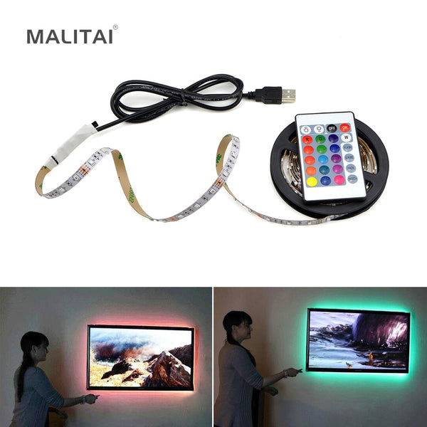 USB LED Strip lamp 2835SMD DC5V Flexible LED light Tape Ribbon 1M 2M 3M 4M 5M HDTV TV Desktop Screen Background Bias lighting