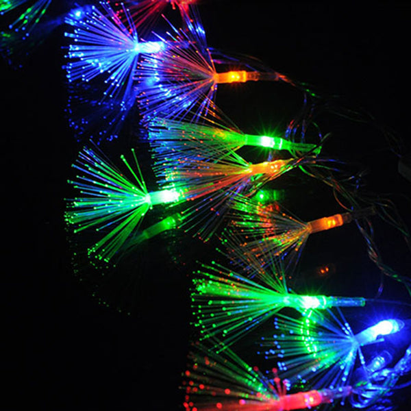 10M 100pcs 220V LED String Dandelion Optic Fiber Fairy String Light Christmas Wedding Garden Party home Decoration