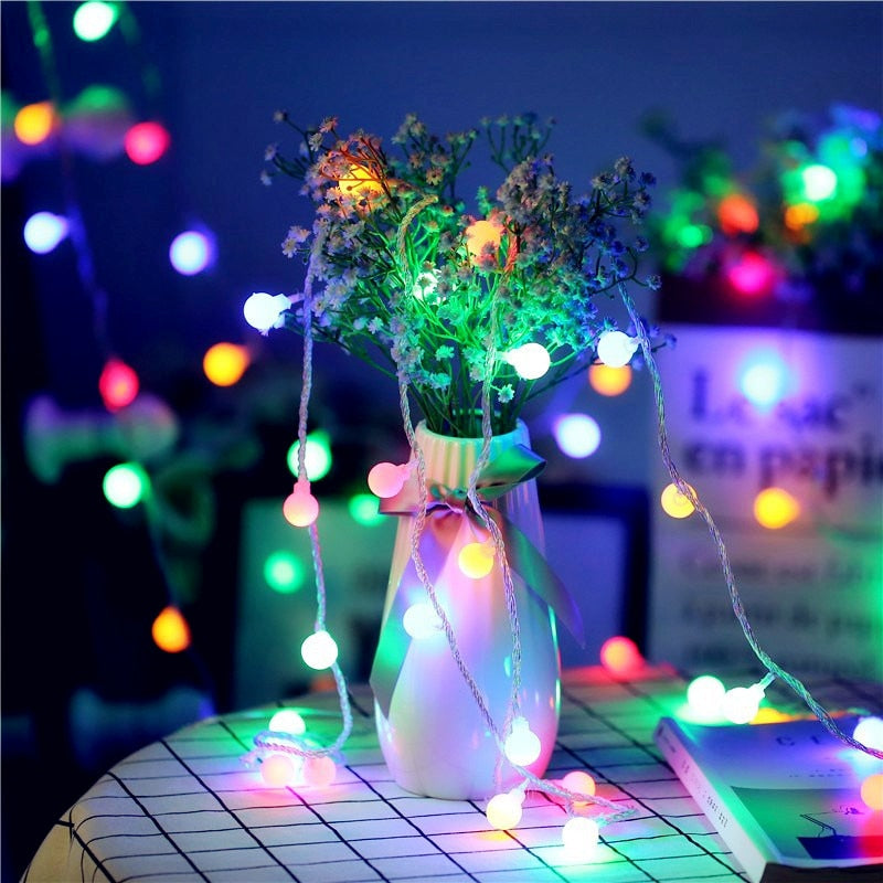1.5M 3M 6M 10M LED Ball String Light Battery Operated Led Fairy Light for Wedding Christmas Decoration Light Outdoor lighting