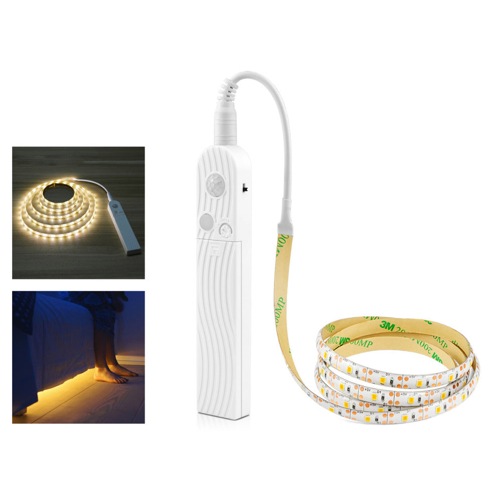 1m 2m 3m Wireless PIR Motion Sensor LED Bed Closet Night light 5V 2835 LED Strip AAA Battery Power Flexiable lamp Illumination