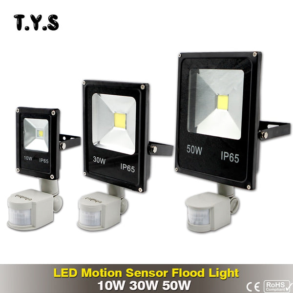 Led Flood Light Outdoor Spotlight Floodlight 10W 30W 50W With Motion Sensor IP65 Street Lamp Reflector Waterproof 220V Lighting