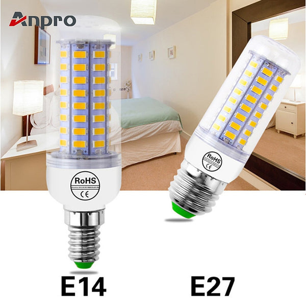 Anpro E27 Led Bulb E14 Lamp 220V Led Light Bulb 72 LEDs 15W SMD 5730 Corn Chandelier for Home E27 LED Bulbs Decoration Ampoule