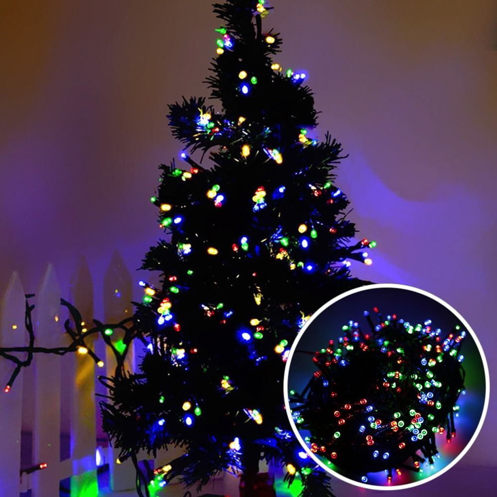10 Meters RGB Christmas String Lights 8 Modes 100 Lights Fairy String Lamp New Year Garland 220V Home Indoor Xmas Tree Decor