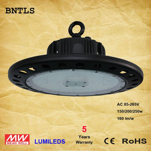 LED High Bay Lighting, 150W UFO Hi Bay Light 160 Lm/W Lumileds SMD 3030 LED 6000K MeanWell Driver for Garage Warehouse
