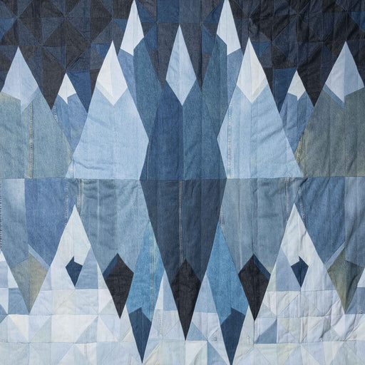 mountain majesty recycled denim quilt handcrafted by storyteller studio in Louisville KY