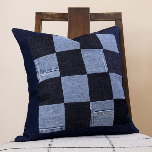 Storyteller Studio - Denim Grid Pillow