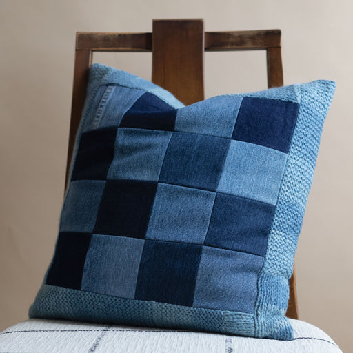 Denim Grid Pillow with Alpaca Trim