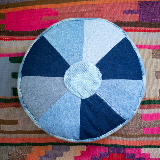 Storyteller Studio - Denim Pinwheel Pillow with Alpaca Trim
