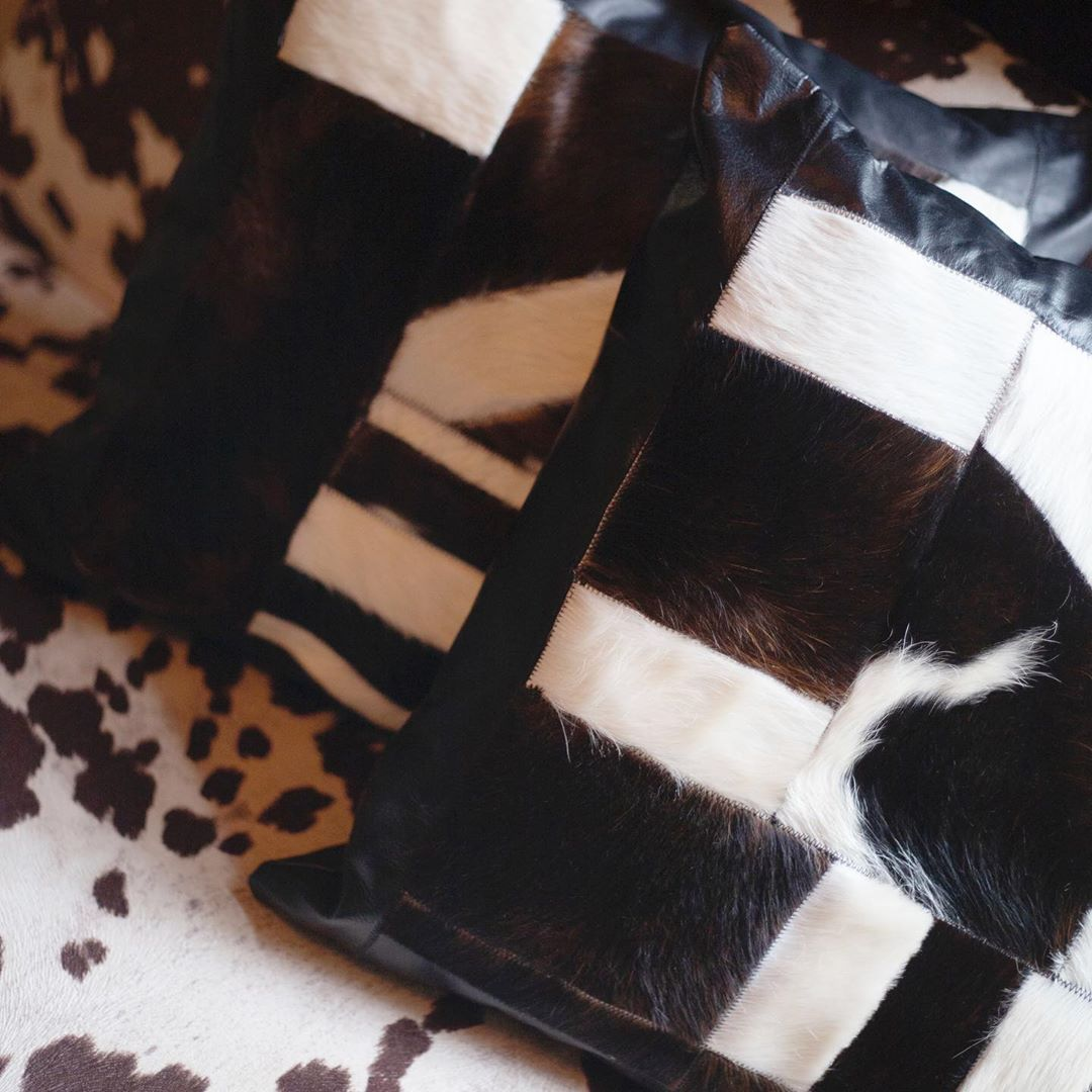 closeup of genuine leather cowhide pillows