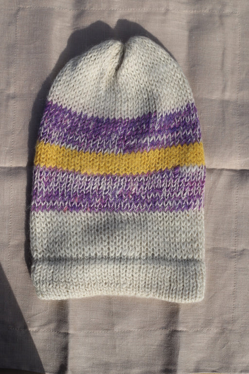 Purple and Yellow Stripe Alpaca Beanie