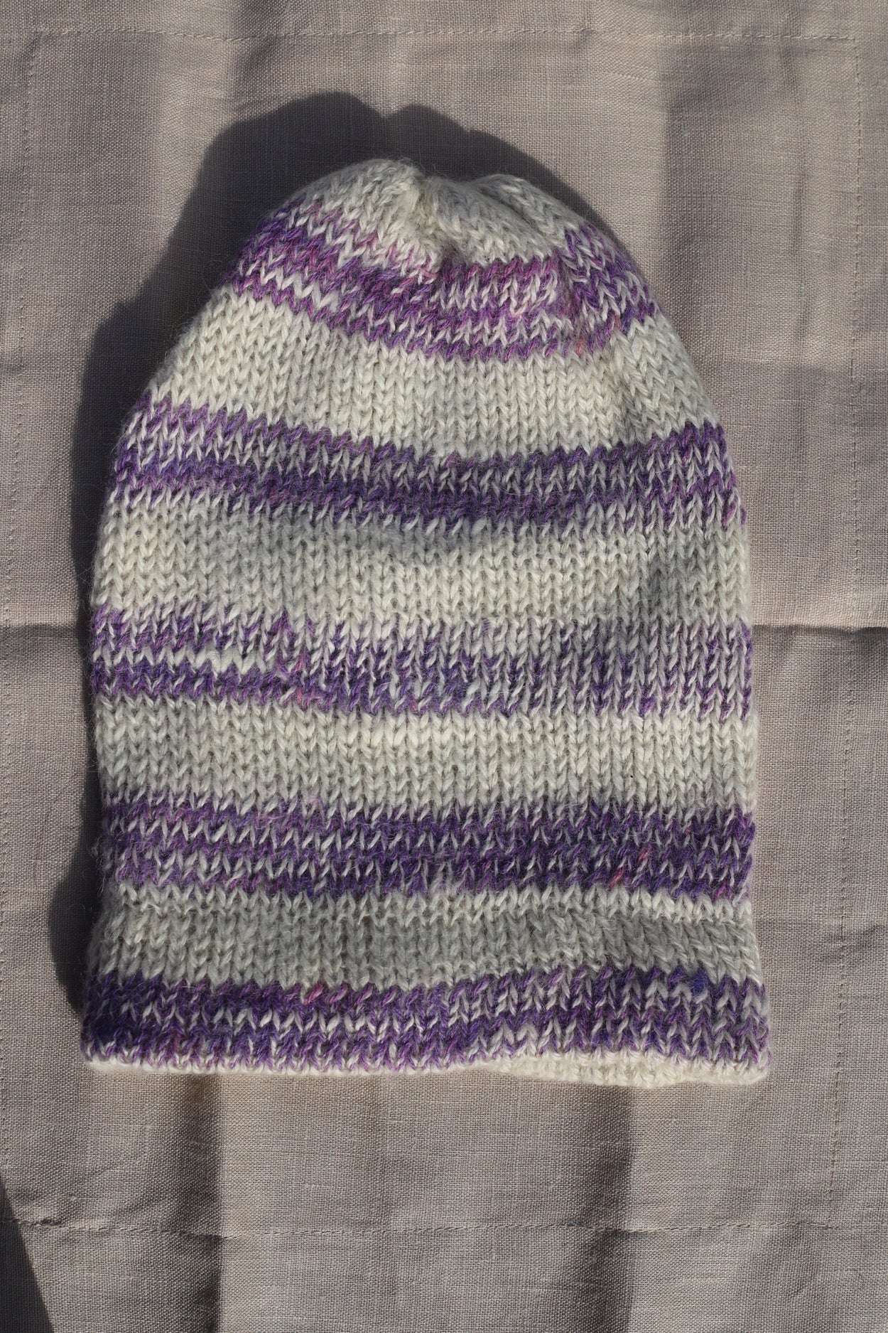 Purple and White Alpaca Knit Beanie