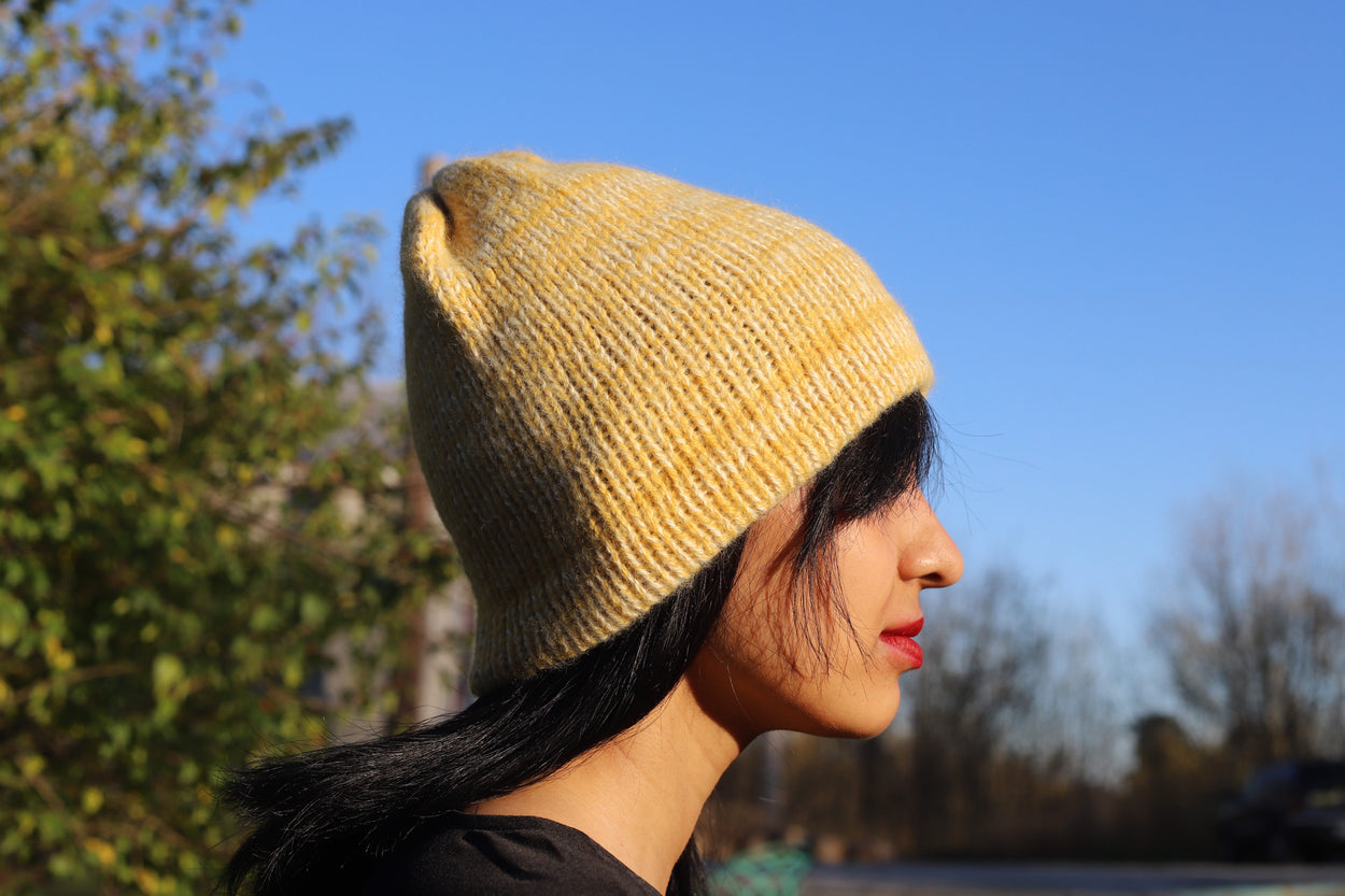 Yellow and White Alpaca Beanie