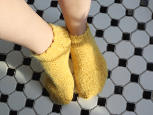 Alpaca Knit Slipper Socks - Yellow