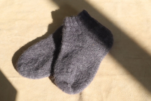 Alpaca Knit Slipper Socks - Charcoal