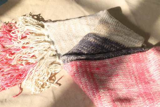 Alpaca Knit Scarf - Color Block Pink