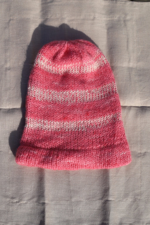 Pink and White Alpaca Knit Beanie