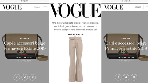 VOGUE ITALIA Capi e accessori beige Primavera Estate 2019